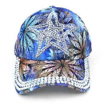 Star Bling Studs Blue Flower Baseball Cap, Hat CFB10185B