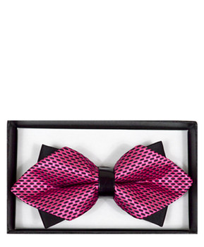 Mens Pink Geometric Diamond Tip Bow Tie DBB3030-2