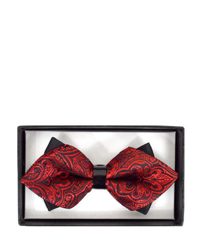 DBB3030-42 Mens Red Solid Diamond Tip Bow Tie