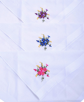 Ladies Embroidered Cotton Handkerchief 6pc Box Set WEH6601