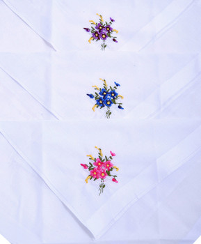 Ladies Embroidered Cotton Handkerchief 3pc Box Set WEH3601