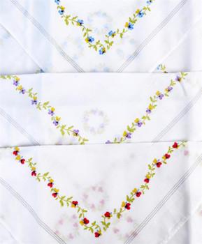 Boxed Fancy 3pc. Ladies Cotton Handkerchiefs WFH3020