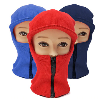 One Hole Balaclava Face Mask/Ski Mask with Visor and Zipper Front - LH1004