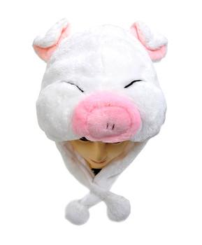 Pre-Pack Animal Plush Hat - White Piggy HATC1060
