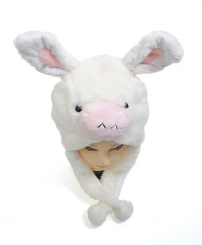 6 pcs White Donkey Plush Winter Hat HATC1030