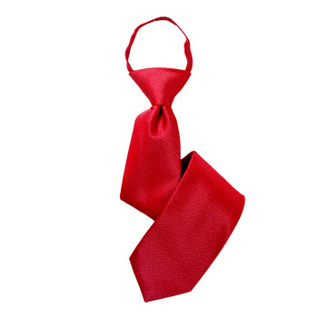 "Boy's 17"" Solid Red Zipper Tie"