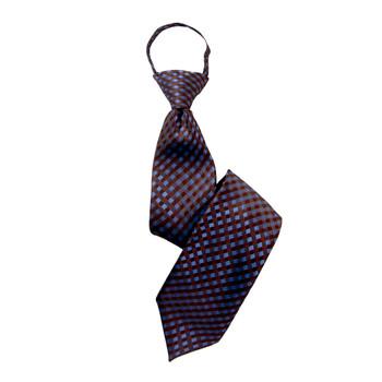 """Boy's 17"""" Checkered Brown Zipper Tie"""