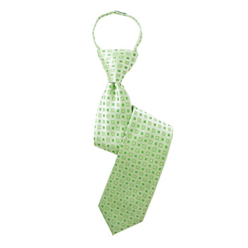 "Boy's 17"" Geometric Lime Zipper Tie"