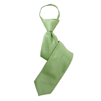 "Boy's 17"" Polka Dots Lime Zipper Tie"