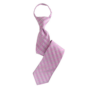 "Boy's 17"" Plaid Pink Zipper Tie"