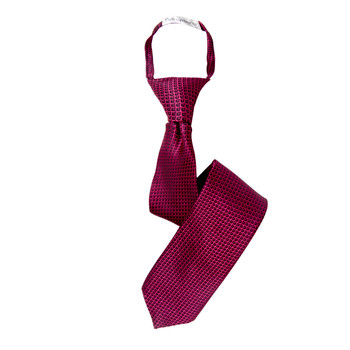 "Boy's 17"" Geometric Hot Pink Zipper Tie"