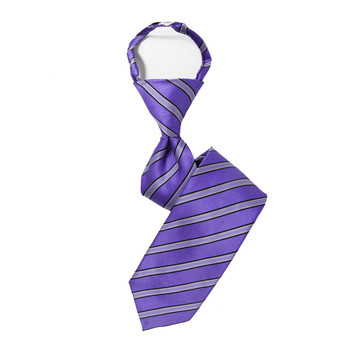 "Boy's 14"" Striped Purple Zipper Tie"
