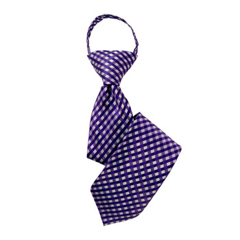 "Boy's 14"" Plaid Purple Zipper Tie"