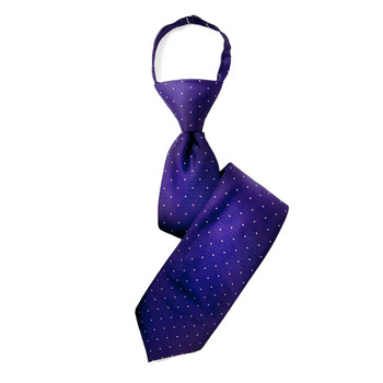 "Boy's 17"" Polka Dots Purple Zipper Tie"