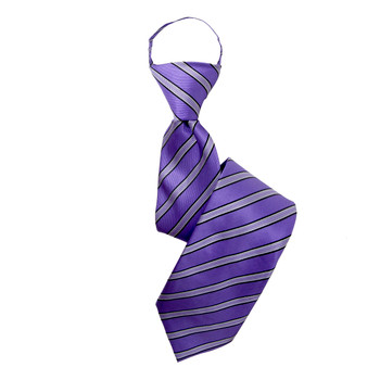 "Boy's 17"" Shadow Striped Purple Zipper Tie"