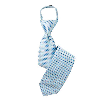 "Boy's 17"" Geometric Baby Blue Zipper Tie"