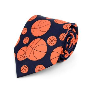 Basketball Navy Novelty Tie