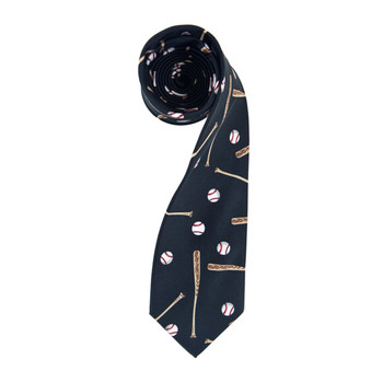 Baseball Black Novelty Tie