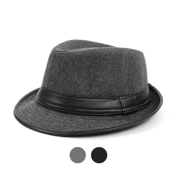 6pc Two Sizes Boy's Fall/Winter Fedora Hats with Leather Trim - BF0297
