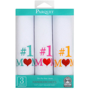 """#1 Mom"" Cotton Embroidered Handkerchiefs LME3003"