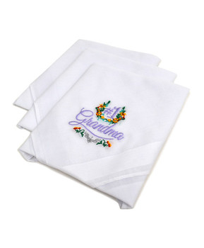 """#1 Grandma"" Cotton Embroidered Handkerchiefs LGE3003"