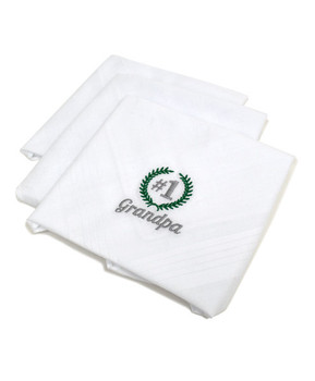 """#1 Grandpa"" Cotton Embroidered Handkerchiefs MGE3003"