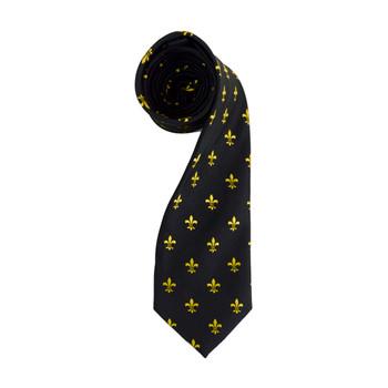 Poly Black Fleur-de-lis Tie FLT01BKGD