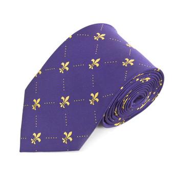 Poly Purple Fleur-de-lis Tie FLT02PUGD
