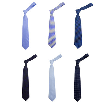 6pc Assorted Blue Poly Woven Ties with Clerric Paper Hooks PWBL1