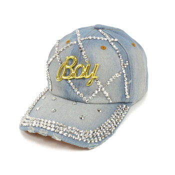 "Bling Studs ""Boy"" Denim Cap"
