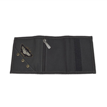 Men's Polyester Small Eagle Tri-fold Velcro Wallets