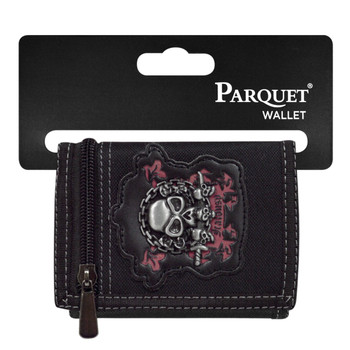 Men's Polyester Jealousy Skull Tri-fold Velcro Wallets