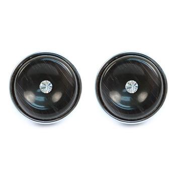 Silver-tone Black Stone Crystal Target Round Brass Cufflinks