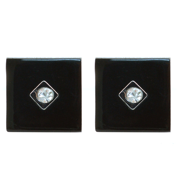 Black Crystal Target Square Brass Cufflinks