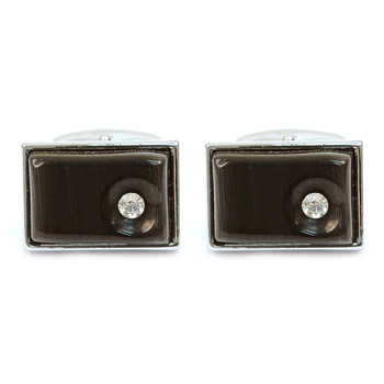 Silver-tone Crystal Black Stone Rectangle Brass Cufflinks