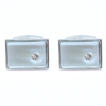 Silver-tone Crystal White Stone Rectangle Brass Cufflinks