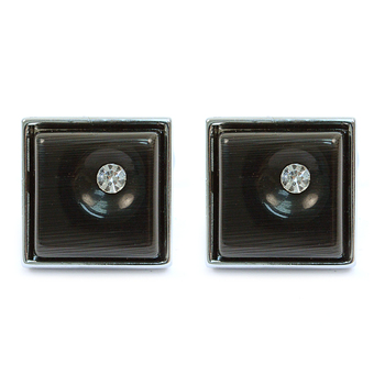 Silver-tone Crystal Black Stone Square Brass Cufflinks