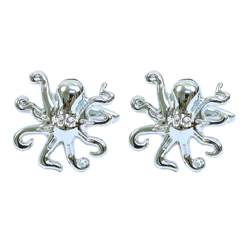 """Silver-tone """"Octopus"""" Brass Novelty Cufflink"""