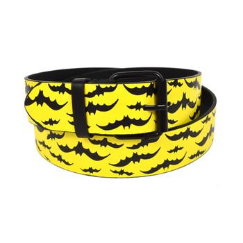 Men's Yellow Black Bat Buckle Belts