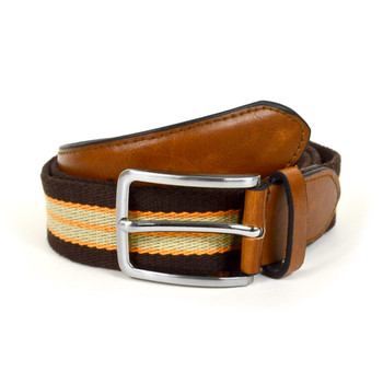 Men's Brown Braided Belts with Double Stripe MCB003