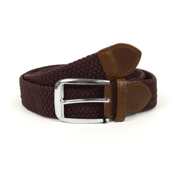 Men's Brown Braided Elastic Belts MCB008