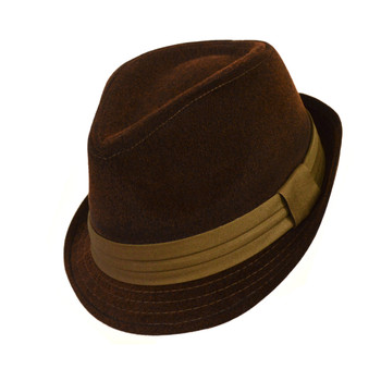 6pc Men's Brown Poly/Cotton Westend Fedora Hats H10337-BR