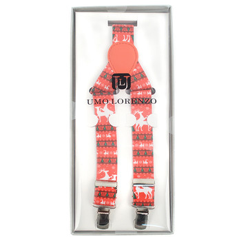 Men's Y-Back Christmas Reindeer Adjustable Elastic Clip-on Suspenders