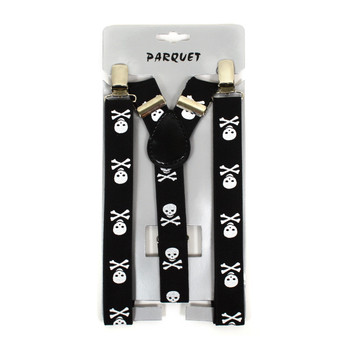 Boy's Y-Back Skull and Crossbones Adjustable Elastic Clip-on Suspenders BSCS1071-9