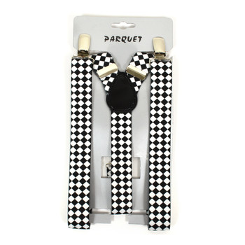 Boy's Y-Back Diamond Checkered Adjustable Elastic Clip-on Suspenders BSCS1071-21