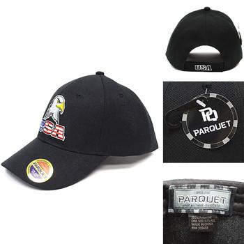 USA & Eagle Black Embroidered Baseball Cap