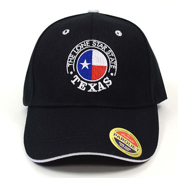 Texas Flag in Circle Black Embroidered Baseball Cap