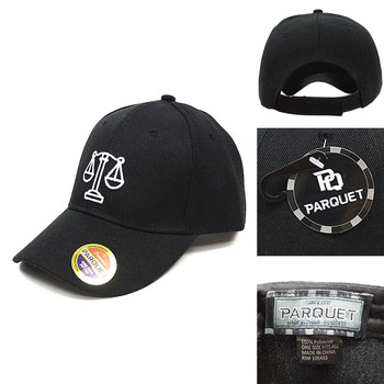Law Justice Symbol Black Embroidered Baseball Cap
