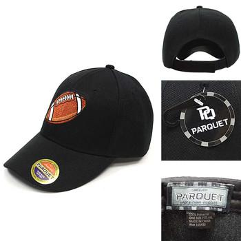 Football Black Embroidered Baseball Cap