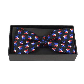 3pc Men's Texas Flag Black Banded Bow Tie (NFB10018)
